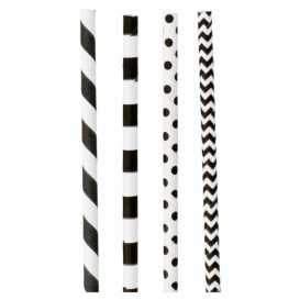 Paper Straw Straight Black Pack Ø0,6cm 20cm (3000 Units)