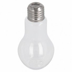 Plastic Bottle with Cap Light Bulb Design PET Clear 100ml (25 Units)