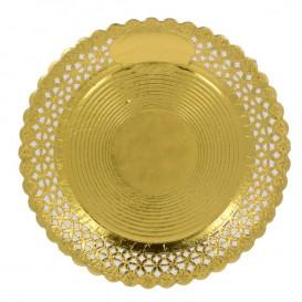 Paper Plate Round Shape Doilie Gold 20cm (100 Units)