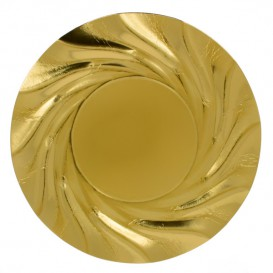 """Paper Plate Round Shape Gold """"Acuario"""" 35cm (25 Units)"""