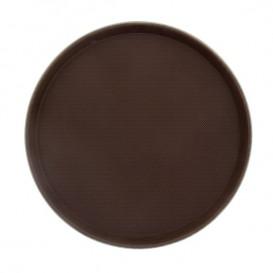 Plastic Tray Round Non-Slip Brown Ø35,5cm (1 Unit)