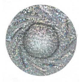 "Paper Plate Round Shape Silver ""Gaudi"" ""Acuario"" 35cm (25 Units)"