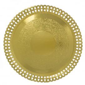 Paper Plate Round Shape Doilie Gold 23cm (50 Units)