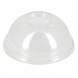 Plastic Dome Lid with Hole Ø9,5cm for PLA and PET Cups 265, 364, 425 and 550ml (100 Units)