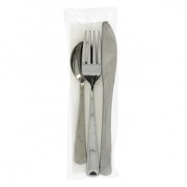 Plastic Cutlery kit PS Metallized 3 Pieces with Napkin (30 Units)