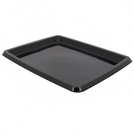 Plastic Platter Rectangular Shape Black 31,6x26,5x2cm (25 Units)