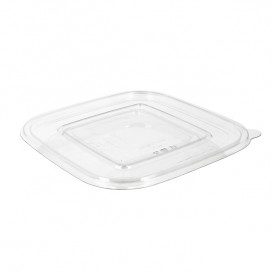 Plastic Lid for Deli Container PET Flat 12x12cm (100 Units)