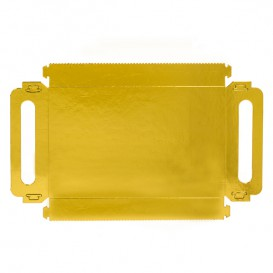 Paper Tray with Handles Rectangular shape Gold 12x19cm (100 Units)