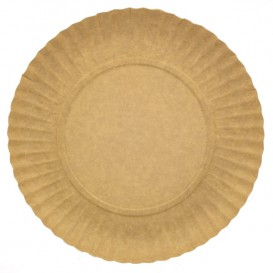 Paper Plate Round Shape Kraft 18cm (100 Units)