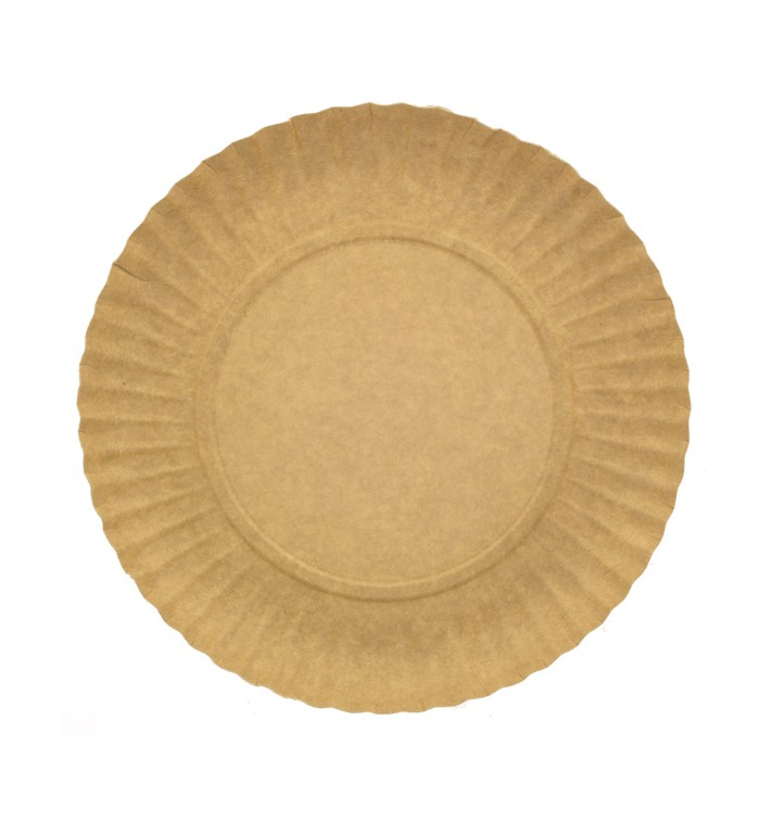 Paper Plate Round Shape Kraft 21cm 255g/m2 (100 Units)