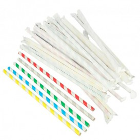 Paper Straw Flexible Pack Wrapped Ø0,6cm 23cm (6000 Units)
