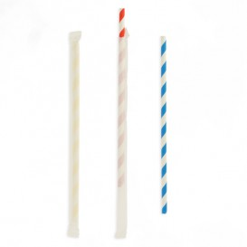 Paper Straw Flexible Pack Wrapped Ø0,6cm 23cm (250 Units)