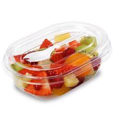Plastic Salad Bowl APET shape with Fork 370ml 19x14x6,4cm (400 Units)