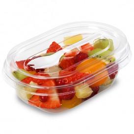 Plastic Salad Bowl APET shape with Fork 500ml 19x14x7,6cm (100 Units)