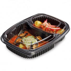 Plastic Container PP Rectangular Shape 2C 1250ml 25,5x18,9x4,5cm (40 Units)
