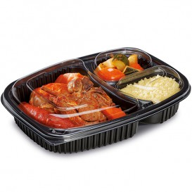 Plastic Container PP Rectangular Shape 3C 1250ml 25,5x18,9x4,5cm (40 Units)