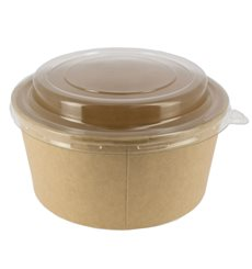 Paper Container Kraft with PET Lid 25 Oz/750 ml (50 Units)