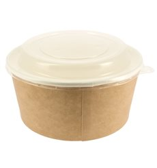 Paper Soup Bowl with Lid Kraft PP 25 Oz/750 ml (50 Units)