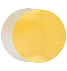 Paper Cake Circle Gold and Silver 24cm (100 Units)