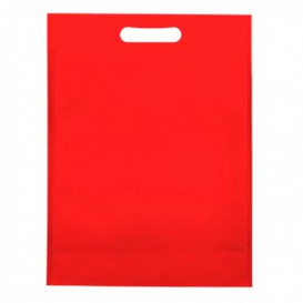 Non-Woven Bag with Die-cut Handles Red 30+10x40cm (25 Units)