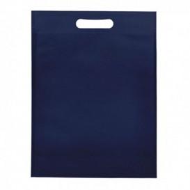 Non-Woven Bag with Die-cut Handles Navy Blu 30+10x40cm (25 Units)