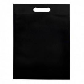 Non-Woven Bag with Die-cut Handles Black 30+10x40cm (25 Units)