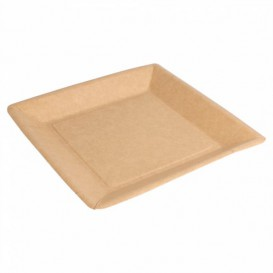 Paper Plate Biocoated Natual Square 18cm (20 Units)