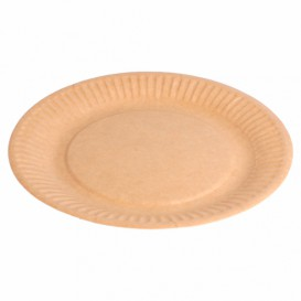 Paper Plate Biocoated Natural Relief 18 cm (20 Units)