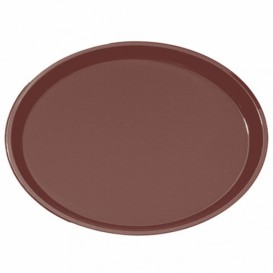 Plastic Tray Oval Non-Slip Brown 67,0x55,5cm (6 Units)