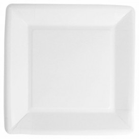 Paper Plate Biocoated White Square 18cm (20 Units)