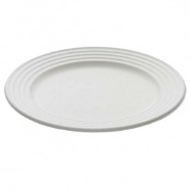 Sugarcane Plate Premium Wave White Ø26cm (50 Units)