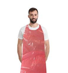 Disposable Plastic Apron PE G80 Red 76x120cm (100 Units)