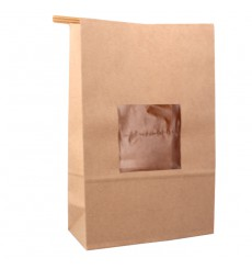 Paper Bag without Handle Kraft and Window 15+7x23cm (1000 Uds)