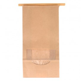 Paper Bag without Handle Kraft and Window 12+6x23,5cm (1000 Uds)