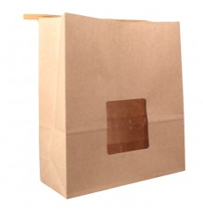 Paper Bag without Handle Kraft and Window 20+8x23cm (50 Uds)
