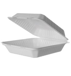 MenuBox Sugar Cane White with PLA 23x23x7,5cm (50 pcs)
