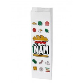 "Paper Baguette Bag Grease-Proof ""Ñam"" 10+4x29cm (125 Units)"