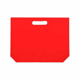 Non-Woven Bag with Die-cut Handles Red 34+8x26cm (25 Units)