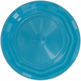 Plastic Plate Round shape Octogonal Light Blue Ø17 cm (25 Units)