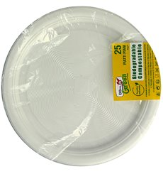 Plastic Plate PLA Flat White Ø22 cm (375 Units)