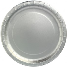 "Paper Plate Round Shape ""Party"" Silver Ø34cm (45 Units)"