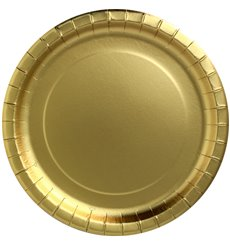 "Paper Plate Round Shape ""Party Shiny"" Gold Ø18cm (10 Units)"