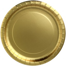 "Paper Plate Round Shape ""Party Shiny"" Gold Ø23cm (300 Units)"