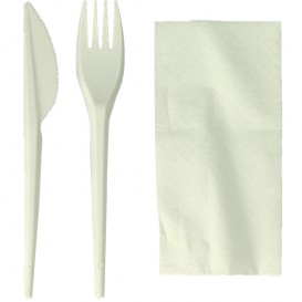 Cornstarch Cutlery Kit PLA : Fork + Knife + Napkin PLA (100 Units)