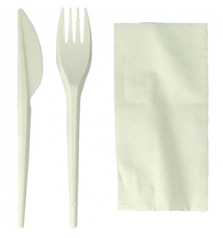 Cornstarch Cutlery Kit PLA : Fork + Knife + Napkin PLA (300 Units)