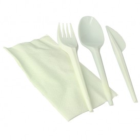 Cornstarch Cutlery Kit PLA : Fork+ Spoon + Knife + Napkin PLA (100 Units)