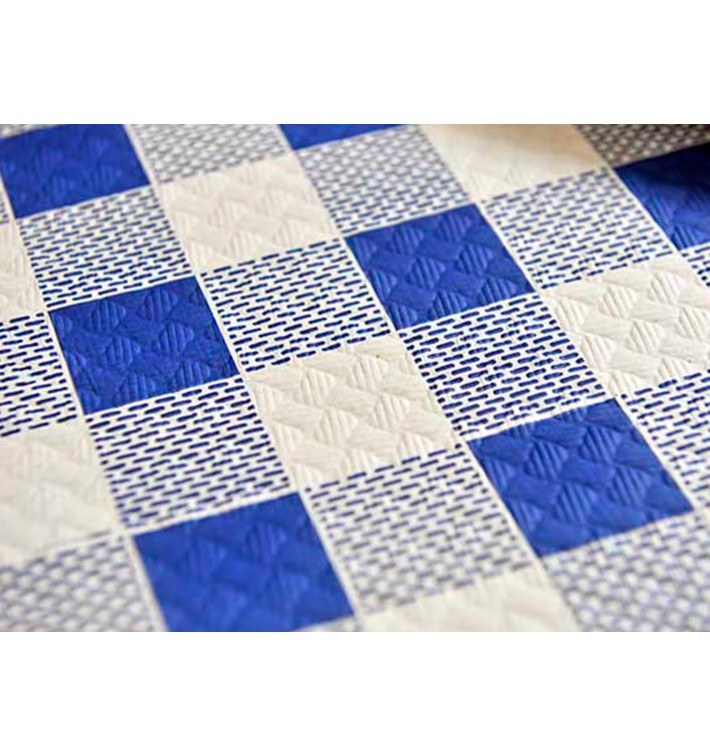 Pre-Cut Paper Tablecloth Blue Checkers 40g 1,2x1,2m (300 Units)