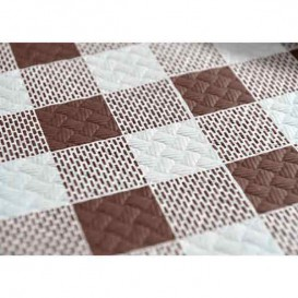 Pre-Cut Paper Tablecloth Brown Checkers 40g 1,2x1,2m (300 Units)