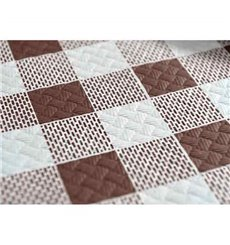 Pre-Cut Paper Tablecloth Brown Checkers 40g 1x1m (400 Units)