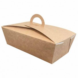 "American Box with handles ""Doggy Bag"" Kraft 12x9x5cm (25 Units)"